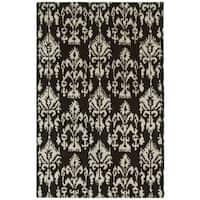 Swanky Brown/ Ivory Ikat Wool Rug (8' x 11') - 8' X 11'