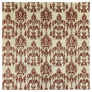 Swanky Terracotta Ikat Wool Rug (7'9 x 7'9 Square)