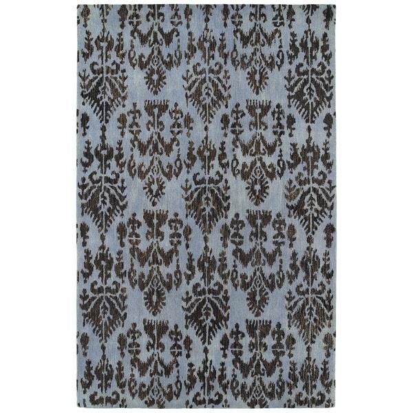 Swanky Blue Ikat Wool Rug - 7'6 x 9'