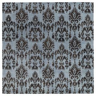Swanky Blue Ikat Wool Rug (7'9 x 7'9 Square)