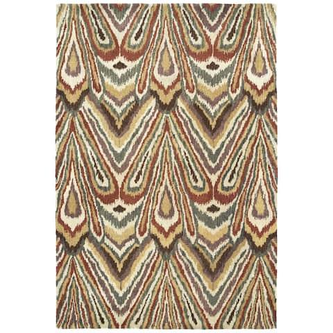 "Swanky Multi Ikat Wool Rug (9'6 x 13') - 9'6"" x 13'"