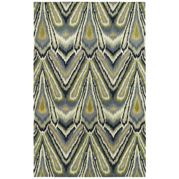 Swanky Avocado & Blue Ikat Wool Rug (2' x 3')
