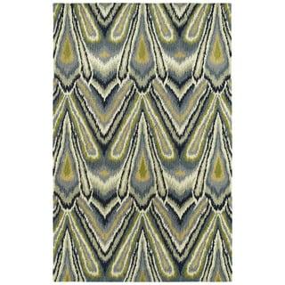 Swanky Avocado & Blue Ikat Wool Rug (9'6 x 13')