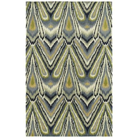 """Swanky Avocado & Blue Ikat Wool Rug (9'6 x 13') - 9'6"""" x 13'"""