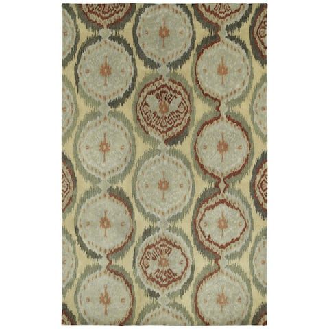 "Swanky Multi Ikat Damask Wool Rug (7'6 x 9') - 7'6"" x 9'"