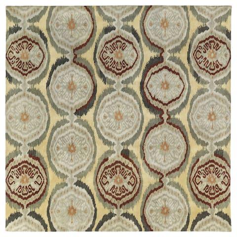 "Swanky Multi Ikat Damask Wool Rug (7'9 x 7'9 Square) - 7'9"" Square"