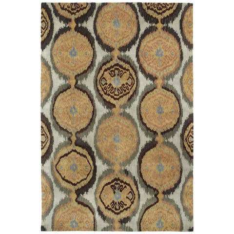 "Swanky Beige Ikat Damask Wool Rug (7'6 x 9') - 7'6"" x 9'"