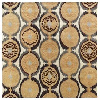 Swanky Beige Ikat Damask Wool Rug (7'9 x 7'9 Square)