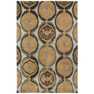 Swanky Beige Ikat Damask Wool Rug (8' x 11')