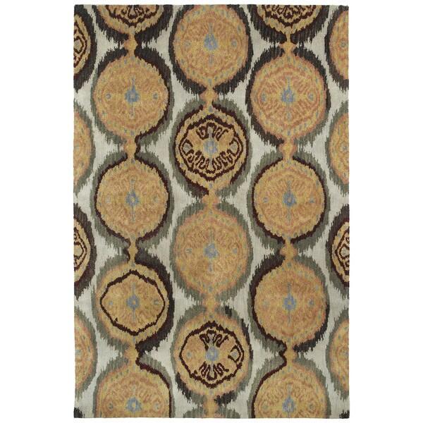 Swanky Beige Ikat Damask Wool Rug (9'6 x 13')
