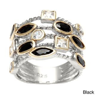 KC Signatures Gold Plated Confetti Layered Ring with Sterling Silver Base