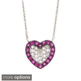 14k Gold 1/10ct TDW Diamond and Gemstone Heart Necklace (H-I, I1-I2)