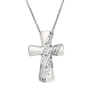 Diamonds For A Cure 14k White Gold 1/6ct TDW Diamond Cross Necklace (H-I, SI1-SI2)