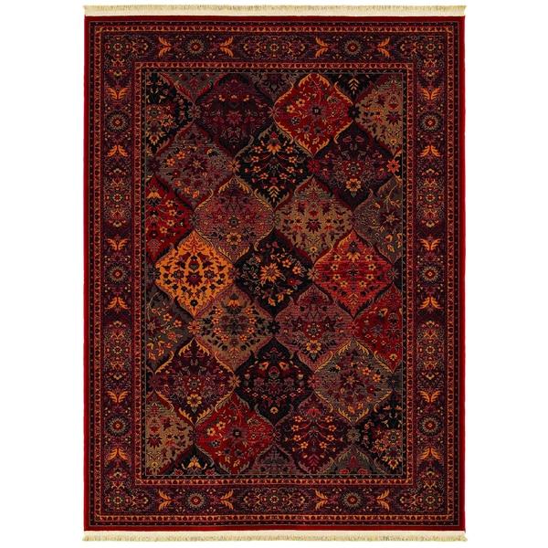Kashimar Ardibel Panel Antique Red/ Multi Wool Rug (7'10 x 11'4)