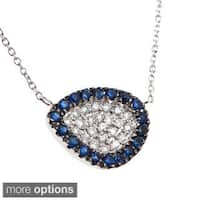14k White Gold 1/8ct TDW Diamond Sapphire or Ruby Bean Necklace