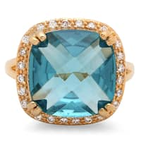 Sterling Essentials Gold over Silver Square Turquoise CZ Cocktail Ring