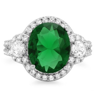Sterling Silver Green Cubic Zirconia 3-stone Cocktail Ring