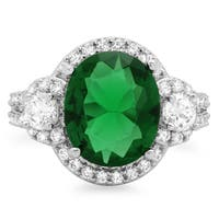 Sterling Essentials Silver Green Cubic Zirconia 3-stone Cocktail Ring