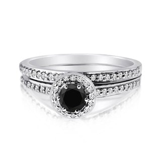 10k Gold 1/2ct TDW Black and White 2-piece Round-set Diamond Ring Set