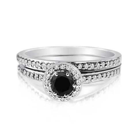 10k Gold 1/2ct TDW Black and White 2-piece Round-set Diamond Ring Set