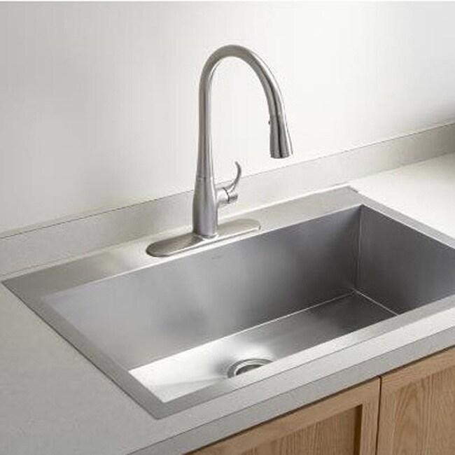 36 Inch 16 Gauge Stainless Steel Single Bowl Topmount Drop In Zero Radius  Kitchen