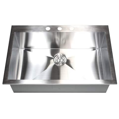36-inch 16 Gauge Stainless Steel Single Bowl Topmount Drop-in Zero Radius Kitchen Sink