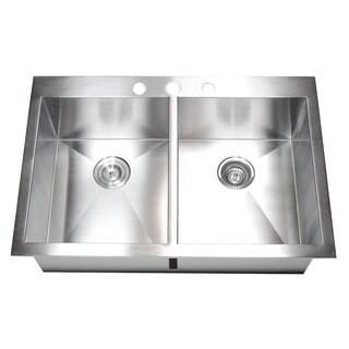 33-inch 16 Gauge Stainless Steel Double Bowl Topmount Drop-in Zero Radius Kitchen Sink