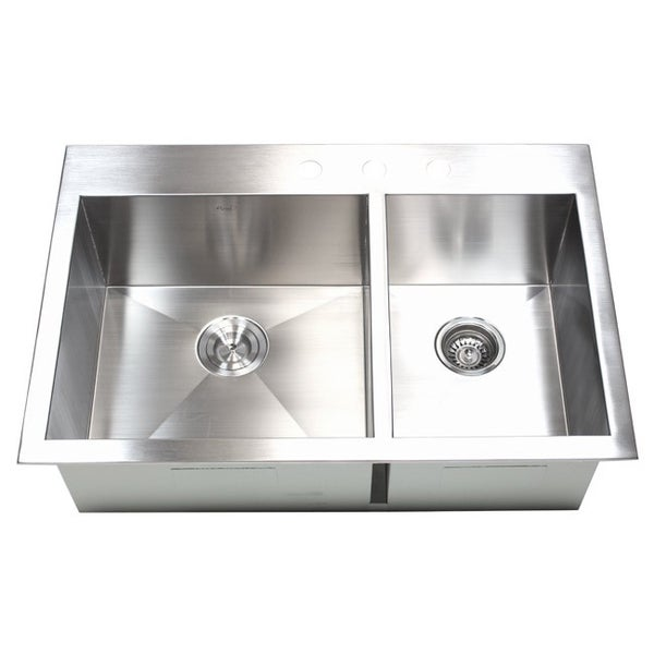 33 Inch 16 Gauge Stainless Steel Double Bowl Topmount Drop In Zero Radius  Kitchen