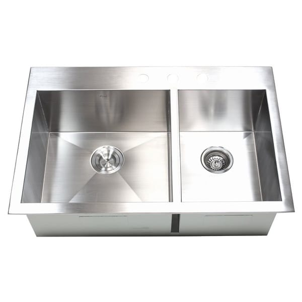 33 inch 16 gauge stainless steel double bowl topmount drop in zero radius kitchen 33 inch 16 gauge stainless steel double bowl topmount drop in zero      rh   overstock com