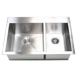 33-inch 16 Gauge Stainless Steel Double Bowl Topmount Drop-in Zero Radius Kitchen Sink