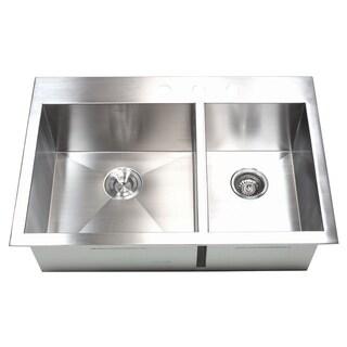 33 Inch 16 Gauge Stainless Steel Double Bowl Topmount Drop In Zero Radius  Kitchen