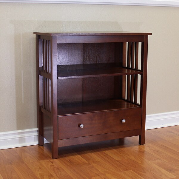 mission style bookcase with drawers folding target chestnut honey oak