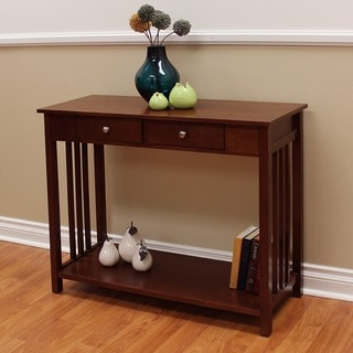 Hollydale Chestnut finished Mission style 2 drawer Console Table Trueman