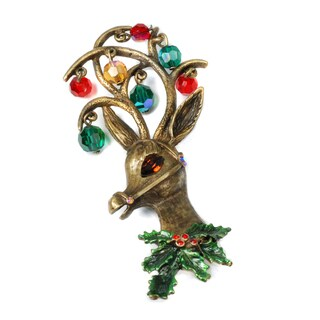 Sweet Romance Rudolf Reindeer Crystal Ornament Christmas Pin