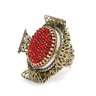 Sweet Romance Bronzetone Elizabethan Red Crystal Ring