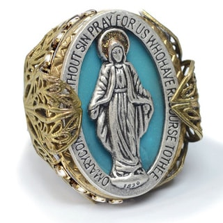 Sweet Romance Virgin Mary Miraculous Medal Vintage French Filigree Ring