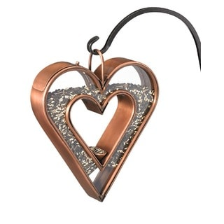 Heart Copper Finish Fly-Thru Bird Feeder by Good Directions