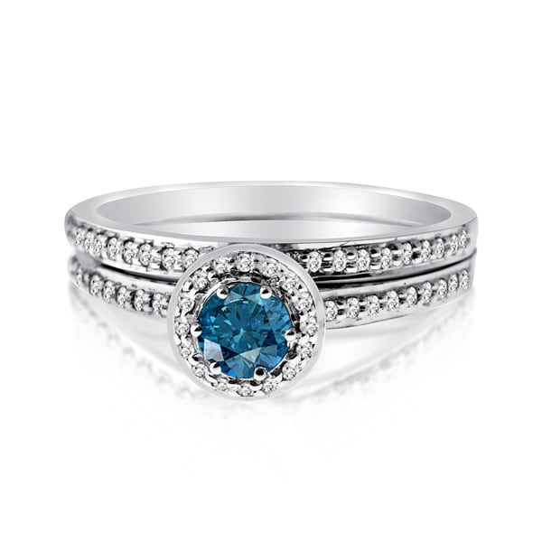 10k Gold 1/2ct TDW Blue and White Diamond Bridal Set - Silver