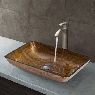 VIGO 'Amber Sunset' Brushed Nickel Glass Vessel Sink and Otis Faucet Set