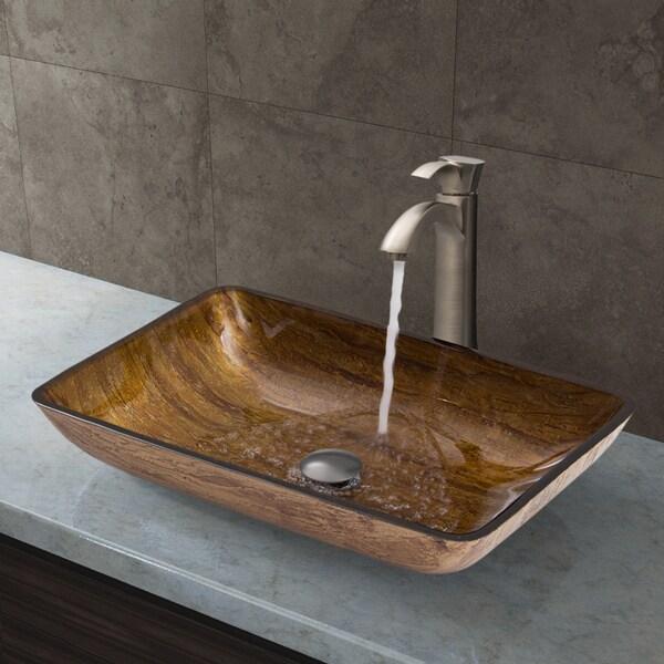 VIGO Rectangular Amber Sunset Glass Vessel Sink and Otis Faucet Set in Brushed Nickel