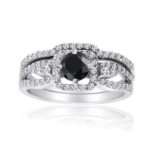 10k White Gold 1ct TDW Black and White Diamond Bridal Ring Set