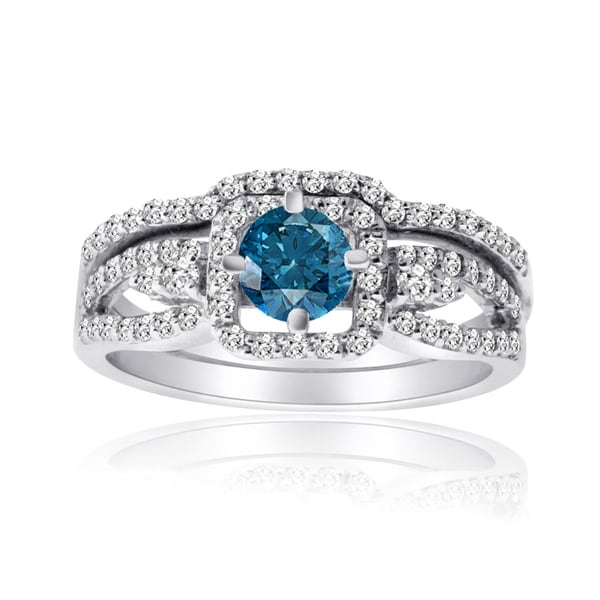 10k Gold 1ct TDW Blue and White Diamond Bridal Ring Set