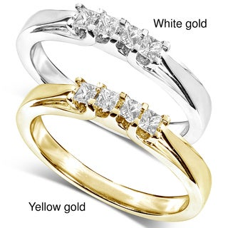 Annello by Kobelli 14k White or Yellow Gold 1/6ct TDW Princess-cut Diamond Ring (H-I, I1-