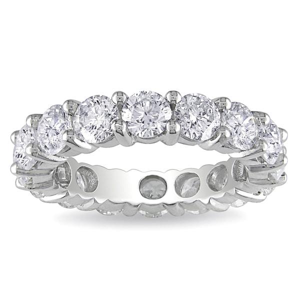 Miadora 18k White Gold 4ct TDW Diamond Eternity Ring (G-H, I1-I2)