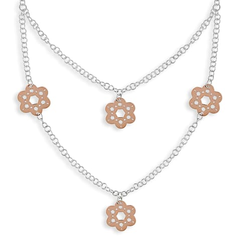 Miadora Sterling Silver Pink and White Daisy Scroll Necklace