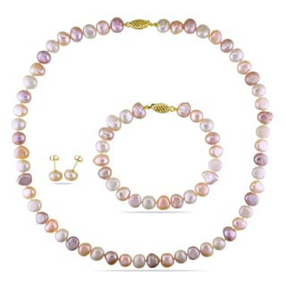 Miadora 14k Yellow Gold Cultured Freshwater Pearl Necklace, Bracelet and Earrings Set