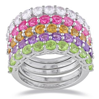 Miadora Sterling Silver Amethyst, Peridot, Citrine and Sapphire Ring Set