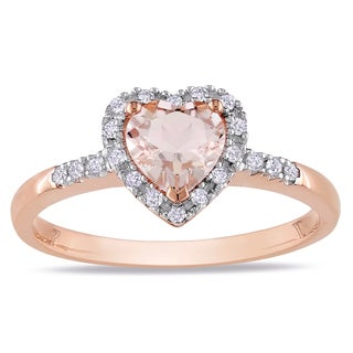 Miadora Roseplated Silver Morganite and 1/10ct TDW Diamond Heart Ring (H-I, I2-I3)