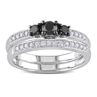 Miadora Sterling Silver 1/2ct TDW Black and White Diamond Ring Set (H-I, I2-I3)
