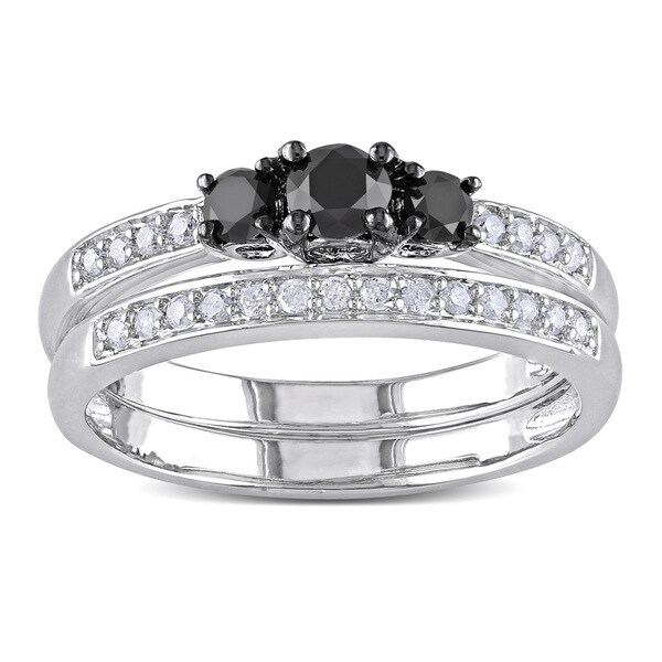 Miadora Sterling Silver 1/2ct TDW Black and White Diamond Ring Set